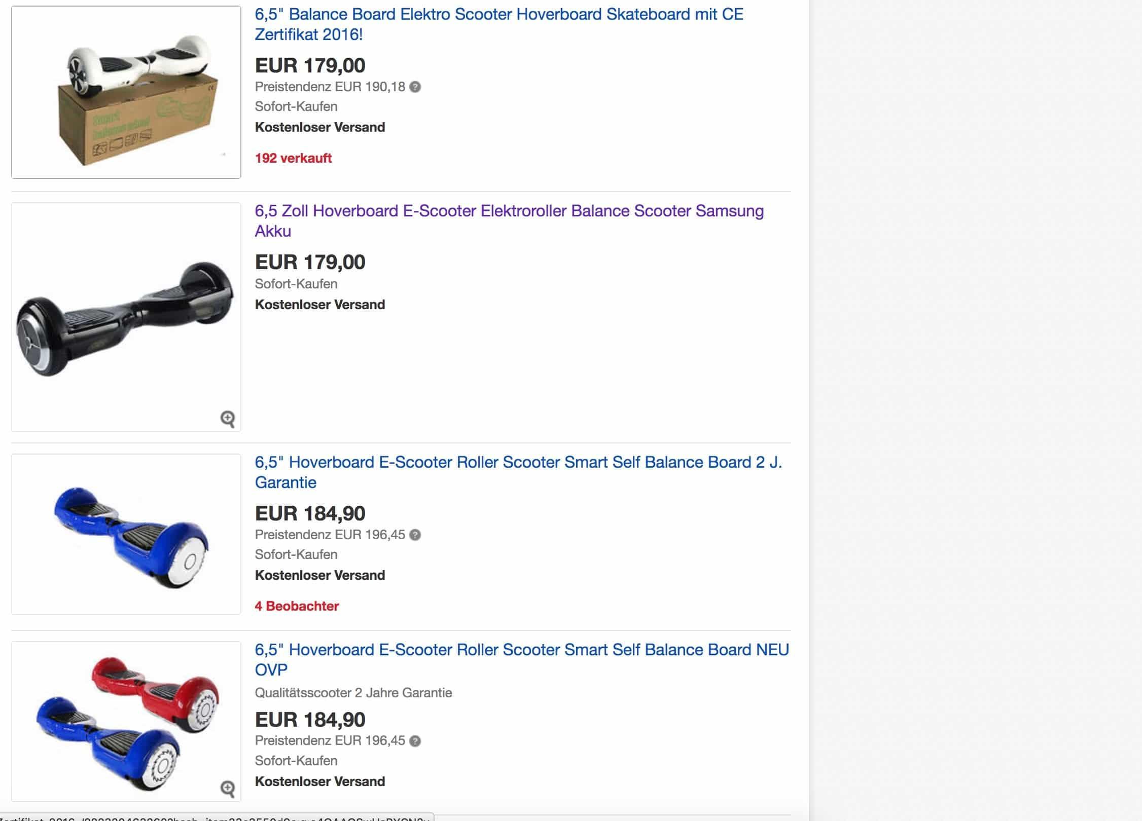 Hoverboards billig bei Ebay