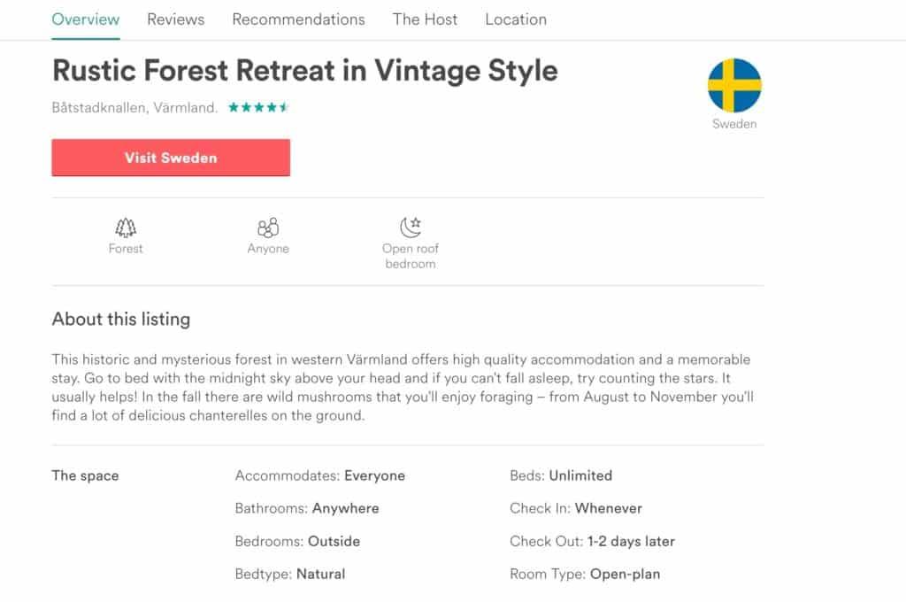 Anzeige: Schweden bei Airbnb