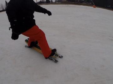 Mit dem Longboard durch den Schnee